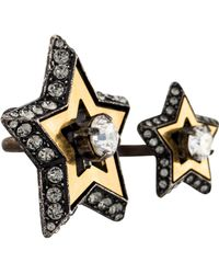 Lanvin - Crystal Double Star Cocktail Ring Gold - Lyst