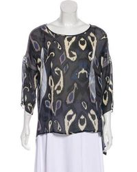 Rag & Bone - Printed Silk Blouse Grey - Lyst