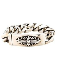 Lyst Chrome Hearts Diamond Id Bracelet Silver In Metallic