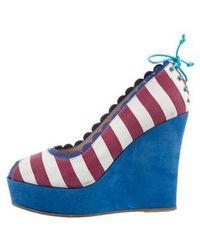 M Missoni - Striped Peep-toe Wedges - Lyst