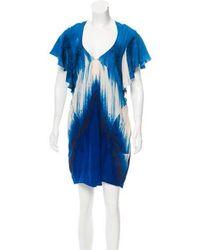 Lyst - Roberto Cavalli Sleeveless Printed Silk Mini Dress in Blue 425445fe9