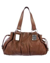 Michael Kors - Leather Drawstring Tote Brown - Lyst