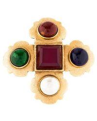 Chanel - Gripoix & Faux Pearl Brooch Gold - Lyst