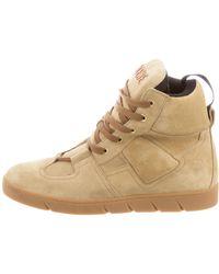 Loewe - Suede High-top Sneakers Neutrals - Lyst