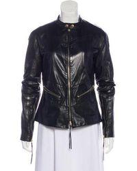 Lyst - Roberto Cavalli Zip-front Studded Leather Jacket W  Fringe ... 54eba2d93