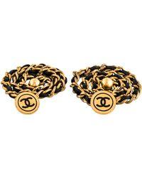 Chanel - Cc Chain Cufflinks Gold - Lyst