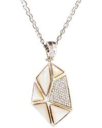 Kara Ross - Mother Of Pearl & White Sapphire Pyramid Pendant Necklace Silver - Lyst