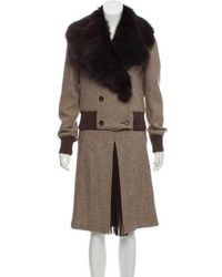 RED Valentino - Fox Fur-trimmed Wool Skirt Suit Beige - Lyst