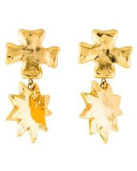 Christian Lacroix - Cross & Sun Shape Clip-on Earrings Gold - Lyst