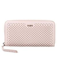 Tod's - Studded Leather Zip Continental Wallet Pink - Lyst