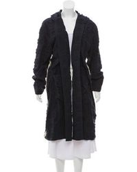 Hache - Hooded Long Coat Navy - Lyst