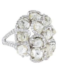 Diamond In The Rough - 18k Cluster Cocktail Ring White - Lyst
