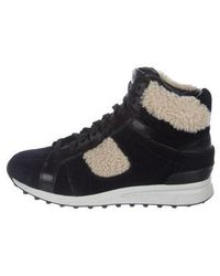 3.1 Phillip Lim - Shearling-accented High-top Sneakers Navy - Lyst