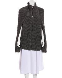 L'Agence - Boucle-knit Patterned Cape Grey - Lyst