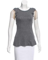 Torn By Ronny Kobo - Chain-accented Lightweight Top Grey - Lyst
