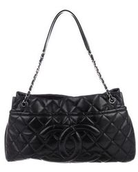 a555c92bf630d5 Lyst - Chanel Quilted Patent Leather Timeless Shopper Tote Black in ...