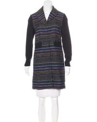 Gryphon - Jacquard Knee-length Coat Navy - Lyst