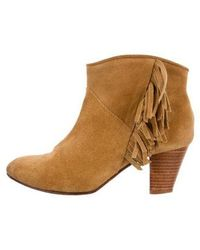 Maje - Suede Fringe Ankle Boots - Lyst