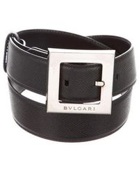 BVLGARI - Leather Buckle Belt Black - Lyst