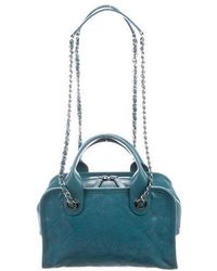 Chanel - 2015 Quilted Deauville Bowling Bag Teal - Lyst
