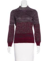 Peter Som - Turtleneck Wool-blend Sweater Aubergine - Lyst