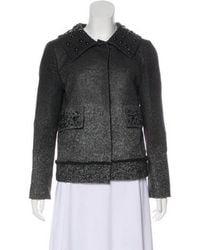 Alberta Ferretti - Embellished Button-up Jacket Grey - Lyst