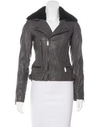 MICHAEL Michael Kors - Michael Kors Shearling Biker Jacket W/ Tags Grey - Lyst