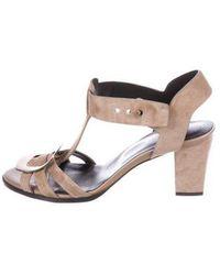 Roger Vivier - Suede Embellished Sandals Brown - Lyst