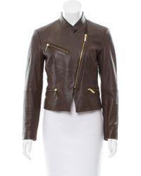 MICHAEL Michael Kors - Michael Kors Standing Collar Leather Jacket Brown - Lyst