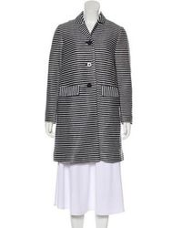 Tory Burch - Striped Woven Coat Navy - Lyst