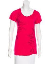 L'Wren Scott - Floral Print Short Sleeve Top Magenta - Lyst