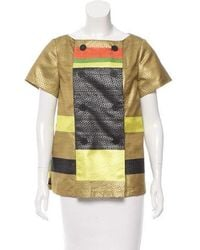 SUNO - Striped Satin Top Chartreuse - Lyst