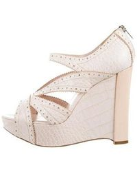 Dior - Alligator Platform Wedges Cream - Lyst