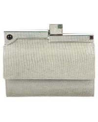 Judith Leiber - Snakeskin Compact Wallet Silver - Lyst