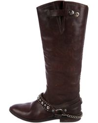 Golden Goose Deluxe Brand - Distressed Leather Knee-high Boots Silver - Lyst