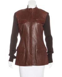 Donna Karan - Wool-trimmed Leather Jacket Brown - Lyst