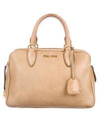 59e670bb6a5a Lyst - Miu Miu Miu Leather Shopper Tote Pink in Metallic