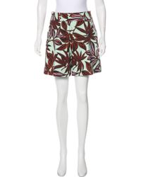 Etro - High-rise Floral Print Shorts Mint - Lyst