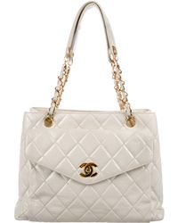 Chanel - Vintage Lambskin Cc Tote White - Lyst