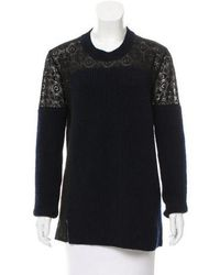 Thakoon - Wool Lace Sweater Navy - Lyst