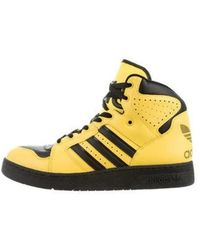 Jeremy Scott for adidas - Leather High-top Sneakers Black - Lyst