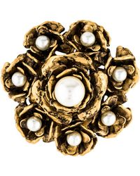 Marc Jacobs - Faux Pearl Flower Brooch Gold - Lyst