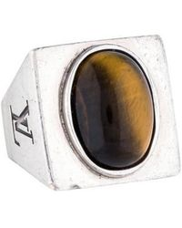 Louis Vuitton - Tiger's Eye Signet Ring Silver - Lyst