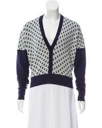 Zac Posen - Checker Pattern Wool Cardigan - Lyst