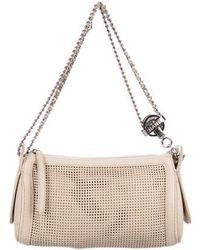 Chanel - Perforated Leather Shoulder Bag Beige - Lyst