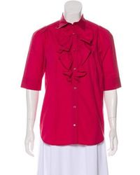 Love Moschino - Short Sleeve Button-up Top Fuchsia - Lyst