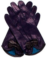 Marc Jacobs - Leather Bow-accented Gloves W/ Tags Indigo - Lyst