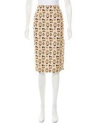 Giambattista Valli - Printed Silk Skirt Tan - Lyst