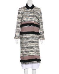 Missoni - Wool-blend Chevron Coat Grey - Lyst