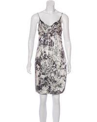 John Galliano - Silk Printed Dress Silver - Lyst